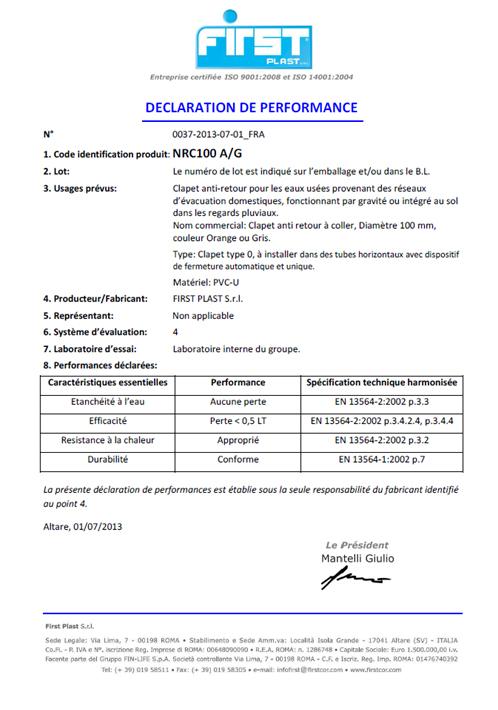 Déclaration de performance CE - Clapet anti-retour IDROSTOP - EN 13564-1