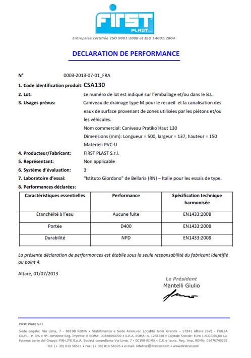 Déclaration de performance CE - Caniveaux à grilles PRATIKO - EN 1433