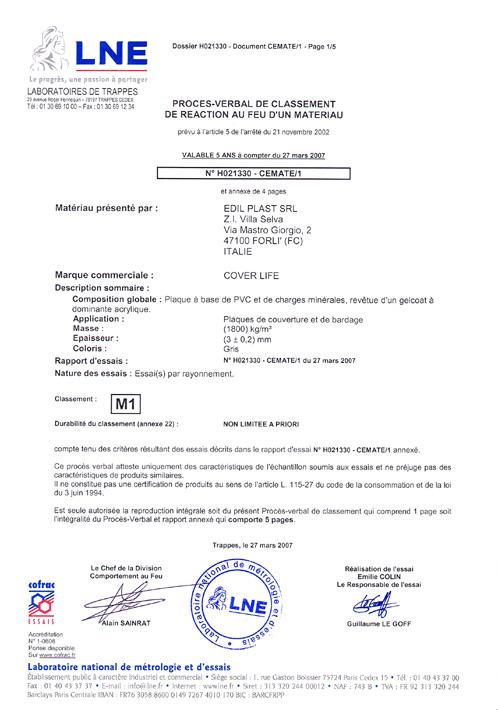 CoverLife - Certification NFP 92-507 - M1 - Réaction au feu