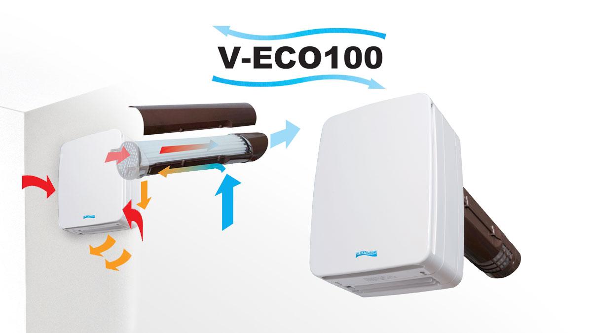 Ventilation double flux avec récupération de la chaleur - V-ECO100H